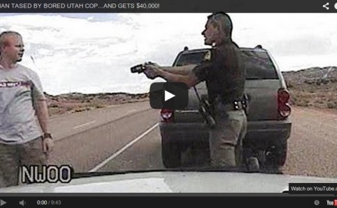 Cop tasers man at traffic stop.